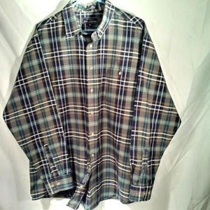 John Ashford Men's Long Slv Oxford Plaid Shirt XL